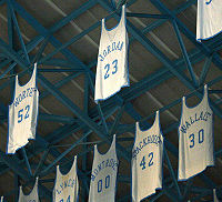 Jordan's number 23 jersey among others in the rafters of the Dean Smith Center