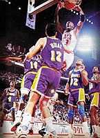 Jordan dunking against the Lakers in the 1991 NBA Finals, which the Bulls won for Jordan's first NBA championship