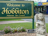 """Welcome to Hobbiton"" sign in Matamata, New Zealand, where the film trilogy was shot."