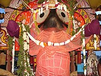 Jagannath (pictured), the presiding God of the temple complex, is described as the Bhairava or consort of the goddess Vimala.