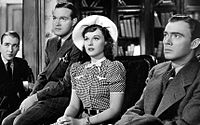 Douglass Montgomery, Bob Hope, Paulette Goddard and  John Beal in The Cat and the Canary (1939)