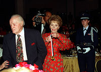 Nancy Reagan prepares to present Hope (age 94) with the Ronald Reagan Freedom Award, 1997