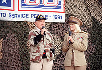 Hope and actress Ann Jillian perform in the USO Christmas Tour during Operation Desert Shield, 1990