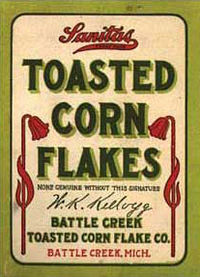 First Battle Creek Toasted Corn Flake Co. corn flakes package (1906), later to become the Kellogg Food Company in 1908