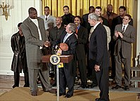 O'Neal at the White House greeting President George W. Bush with his fellow Lakers