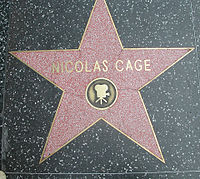 Cage's star on the Hollywood Walk of Fame