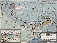 Tibet, Nepal, and Myanmar; bordered by India and China.