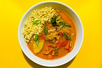 Thai red curry: the red chilies give it color and spice.