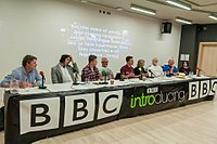 Andrew chairing a BBC Introducing Musicians' Masterclass. Panellists included The Pretenders, Dodgy and Mott The Hoople.