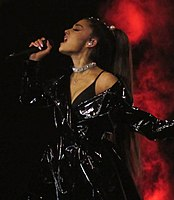 Grande performing on her Dangerous Woman Tour in 2017
