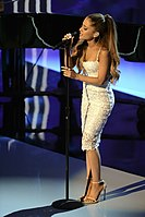 Grande performing at the Stand Up to Cancer event in September 2014