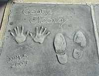 Clooney cast his hands and shoes in the Grauman's Chinese Theatre in 2007