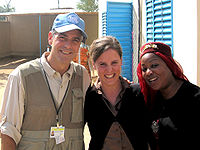 Clooney in Abéché, Chad, in January 2008 with the United Nations