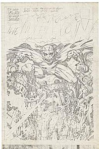 Jack Kirby's detailed pencils for the splash page to The Demon #1 DC Comics (September 1972)