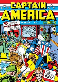 Captain America Comics #1 (cover-dated March 1941). Cover art by Kirby and Joe Simon.