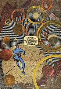 Fantastic Four #51 (June 1966) p. 14. Collage and pencilled figure by Jack Kirby, inks by Joe Sinnott, letters by Artie Simek, dialogue by Stan Lee, illustrating Kirby's use of collage