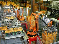 KUKA industrial robots being used at a bakery for food production