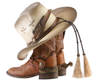 Example of cowboy hat and cowboy boots, two prominent components of country music fashion