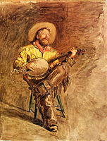 Painting of a cowboy singing by Thomas Eakins (1890)