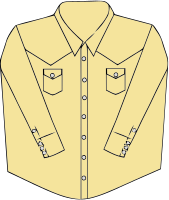 Western wear shirt design, with snap fasteners