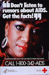 LaBelle promoting AIDS awareness in the 1980s