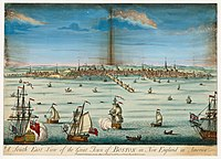 A south east view of the great town of Boston in New England in America (c. 1730)