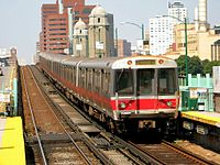 An MBTA Red Line train departing Boston for Cambridge. Bostonians depend heavily on public transit, with over 1.3 million Bostonians riding the city's buses and trains daily (2013).