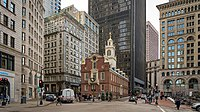 The Old State House, a museum on the Freedom Trail near the site of the Boston massacre
