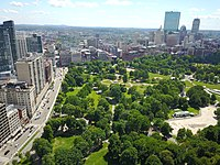 An aerial view of Boston Common