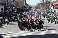 U.S. Navy sailors march in Boston's annual St. Patrick's Day Parade. Irish Americans constitute the largest ethnicity in Boston.