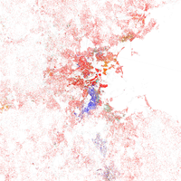 Map of racial distribution in Boston, 2010 U.S. Census. Each dot is 25 people: White, Black, Asian , Hispanic , or Other (yellow)