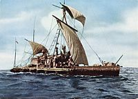 Thor Heyerdahl's raft Kon-Tiki crossed the Pacific Ocean from Peru to Tahiti proving the practical possibility that people from South America could have settled Polynesia in pre-Columbian times