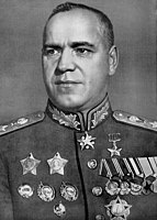 Georgy Zhukov who led the Soviet army during the Battle of Berlin