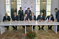 Signing of the agreement to establish the Commonwealth of Independent States (CIS), 8 December 1991