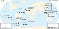 The Magellan–Elcano voyage. Victoria, one of the original five ships, circumnavigated the globe after the death of Ferdinand Magellan.