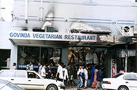 The burnt out remains of Govinda's Restaurant in Suva: over 100 shops and businesses were ransacked in Suva's central business district on 19 May 2000