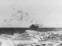 The aircraft carrier under aerial attack during the Battle of the Eastern Solomons
