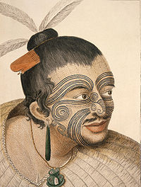 A Māori chief with tattoos (moko). Drawn by Sydney Parkinson, the artist on Captain Cook's 1st voyage to New Zealand in 1769.