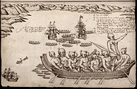 The first European impression of Māori, at Murderers' Bay. Drawing by Isaack Gilsemans in Abel Tasman's travel journal (1642).<ref>{{Cite web   url=http://www.teara.govt.nz/en/history/2/1   title='A view of the Murderers' Bay'}}</ref>