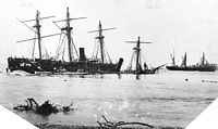 Wrecked vessels at Apia, 1889
