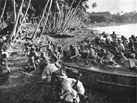 New Zealand troops land on Vella Lavella, in the Solomon Islands