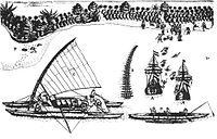 The bay of Tongatapu with the two ships, drawing by Isaack Gilsemans