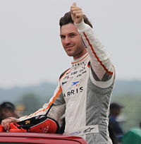 Daniel Suarez waves to the crowd during drivers introduction at the Xfinity Series race at Road America.