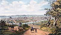 Cincinnati in 1841 with the Miami and Erie Canal in the foreground