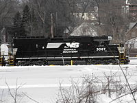 NS #3067 GP40-2 with its new paint scheme sits in the snow at Botford Yard