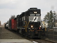 A NS GP38-2 running long hood forward through Ridgewood, New Jersey, on NS H07 the reverse H8K on the Southern Tier and NJ Transit Main Line on March 1, 2008