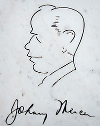 Self-portrait and signature of Johnny Mercer from bench at his grave in Bonaventure Cemetery in Savannah, Georgia.
