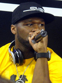 50 Cent performing in 2012.