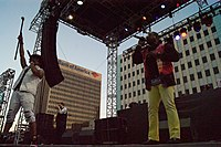 """The Sugarhill Gang used disco band Chic's """"Good Times"""" as the source of beats for their 1979 hip hop hit """"Rapper's Delight"""". Pictured is the Sugarhill Gang at a 2016 concert."""