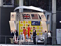 Rossi on the podium after winning a GP2 series race at Spa-Francorchamps in 2015